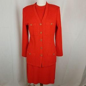St. John Collection Orange Sweater dress set